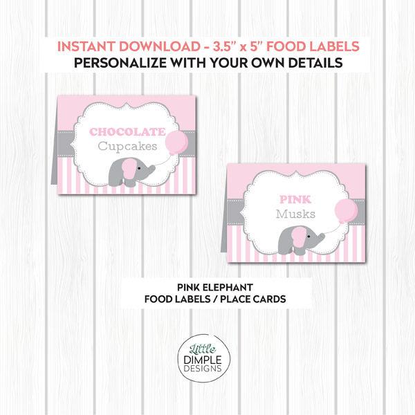 Pink Elephant Food Labels