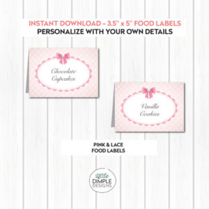Pink and Lace Food Labels