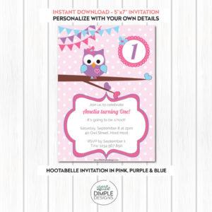 Printable Hootabelle Owl Birthday Invitation