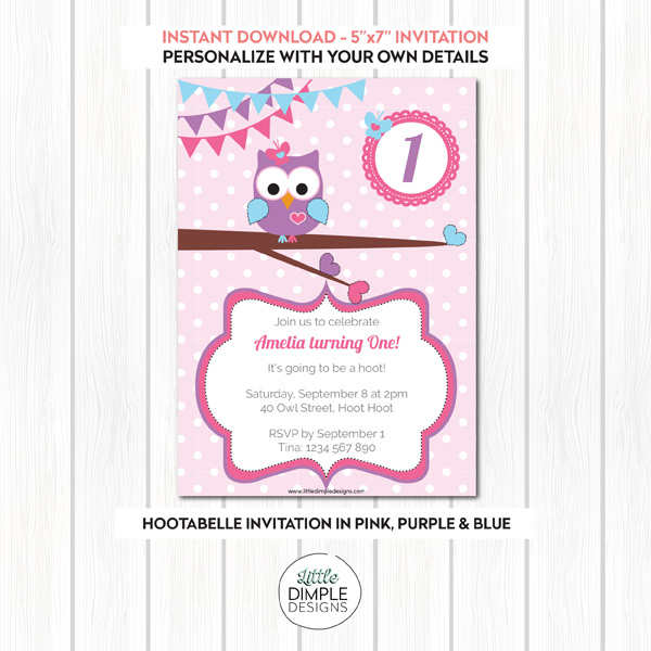 Owl Invitations Template Little