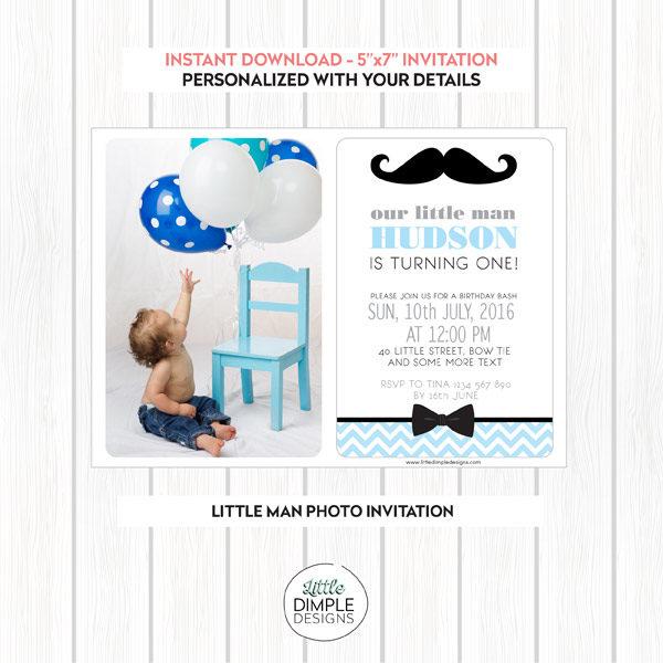 Little Man Printable Photo Invitation