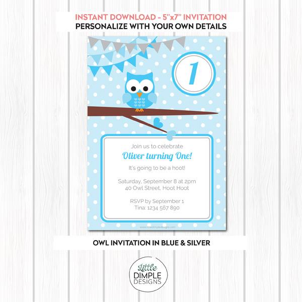 Owl Birthday Printable Invitation