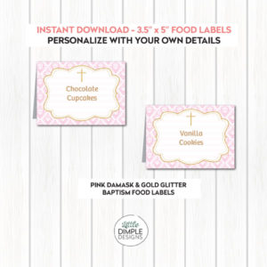 Pink and Gold Buffet Food Labels