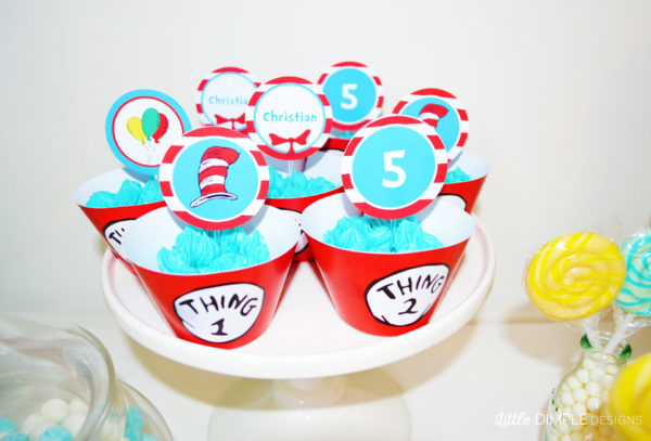 Thing 1 and Thing 2 Dr Seuss Cupcakes