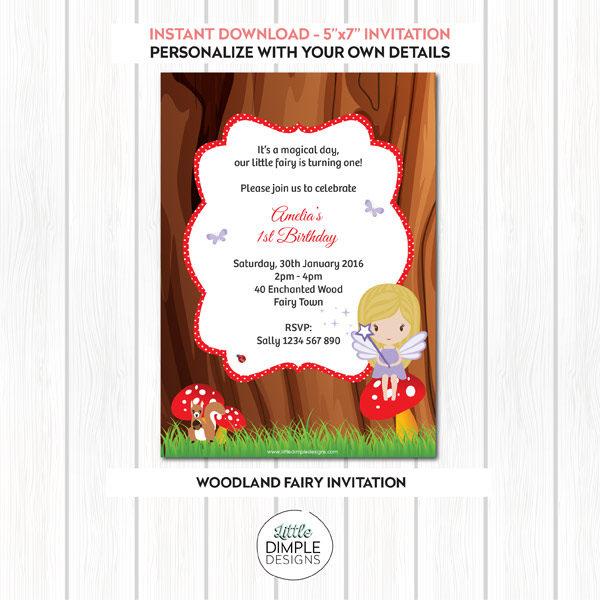 Printable Woodland Fairy Invitation