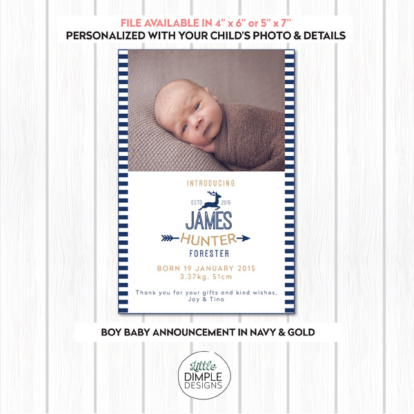 Boy Birth Announcement with Photo in Navy and White Stripes