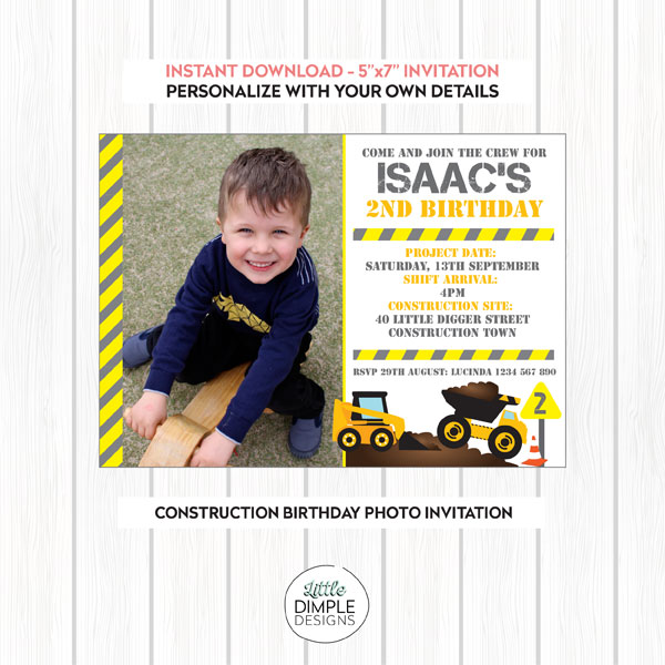 Construction Birthday Invitation with Photo