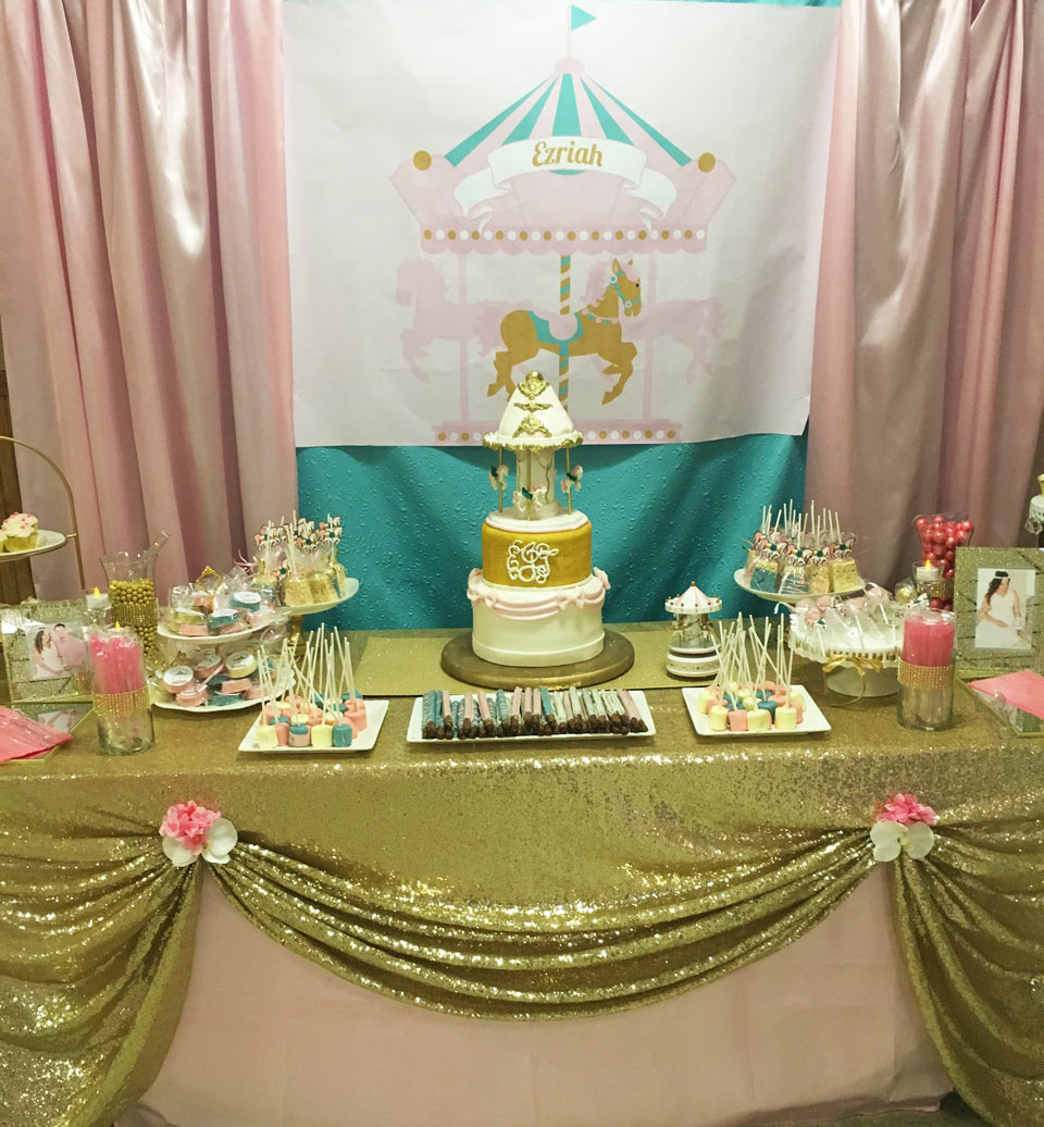 Pink Gold And Turquoise Carousel Baby Shower Backdrop