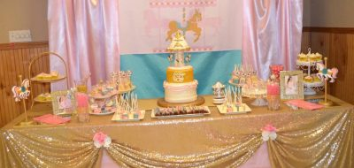 Pink, Turquoise and Gold Glitter Carousel Baby Shower for Ezriah