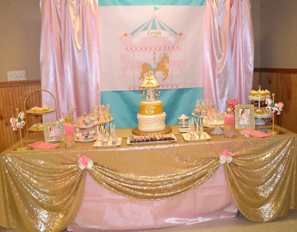 Pink, Gold and Turquoise Carousel Baby Shower Backdrop
