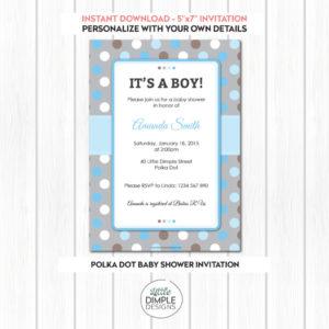 Polka Dot Baby Shower Digital Printable Invitation