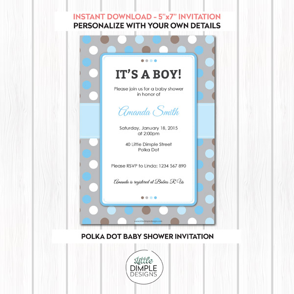 Polka Dot Boy Baby Shower Invitation