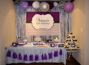 Purple, Silver and Black Birthday Backdrop