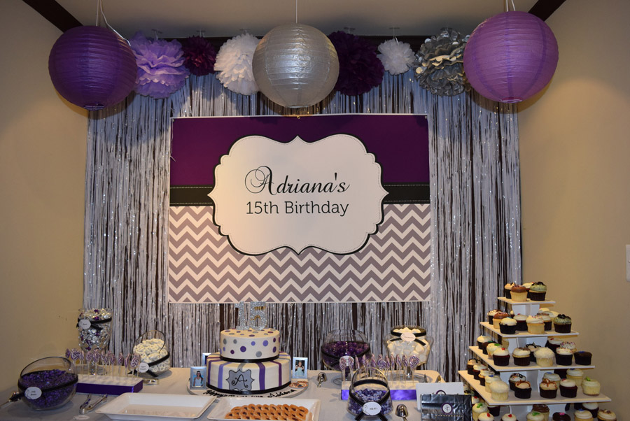 Purple, Silver and Black Birthday Banner