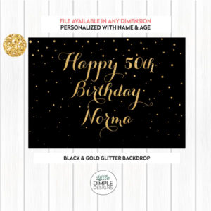 Black and Gold Birthday Backdrop