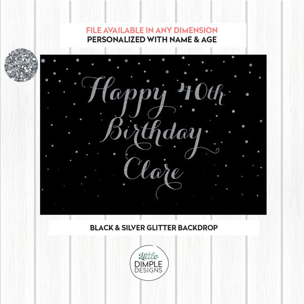 Black Silver Birthday Backdrop